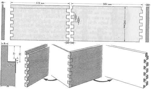 Konstrukcija nastavka LR košnice; gore lijevo prednja i zadnja stranica s presjekom sa strane, desno lijeva i desna stranica s presjekom sa strane; dolje sastav stranica za zupce; sasvim lijevo (dolje) detalj s poluutorom i limenim nosačem za okvire