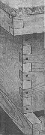 LR košnica; detalj koji prikazuje kako je skrojen ugao košnice