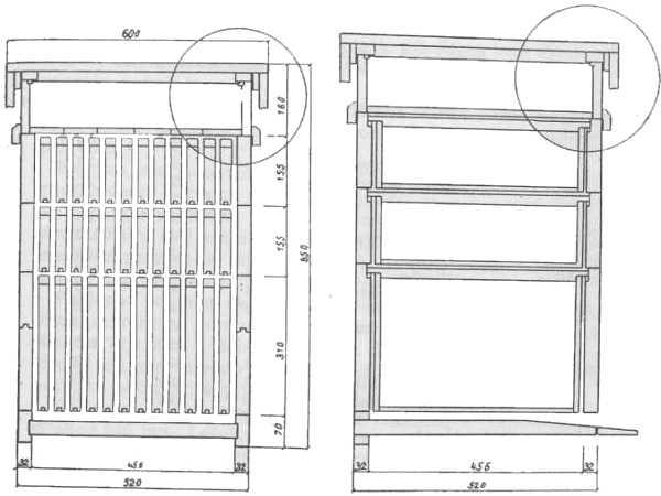 Lijevo presjek nastavljače DB paralelno s letom, desno presjek nastavljače DB paralelno s bočnim stranama Jevtić